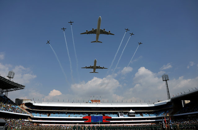 Aircraft fly past during South Africa President Cyril Ramaphosa's inauguration at Loftus Versfeld stadium in Pretoria, South Africa, May 25, 2019. (Photo by Siphiwe Sibeko/Reuters)