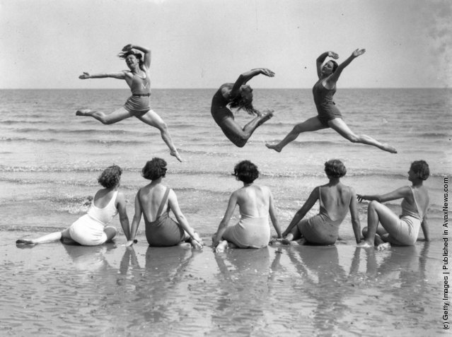 1935: Pupils from the International Institute of Margaret Morris Movement practice on the beach at Sandwich on the Kent coast