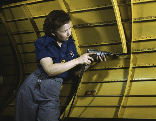 Operating a hand drill at Vultee-Nashville, woman is working on a Vengeance dive bomber, Tennessee, 1943. (Photo by Alfred T. Palmer/Buyenlarge/Getty Images)