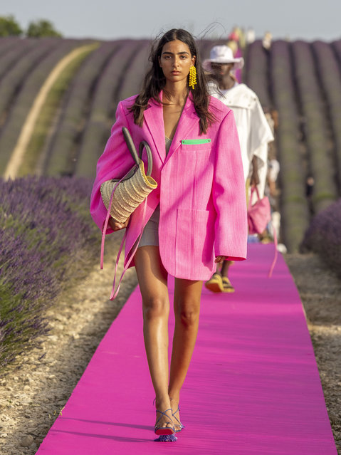 A model walks the runway during the Jacquemus Menswear Spring Summer 2020 show on June 24, 2019 in Valensole, France. (Photo by Arnold Jerocki/WireImage)