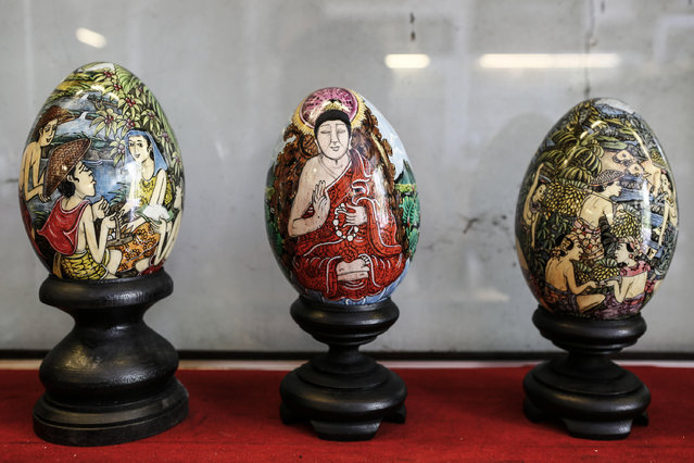 Painted eggshell displayed at Wayan Sadra's workshop on April 14, 2014 in Sukawati, Gianyar, Bali, Indonesia. (Photo by Putu Sayoga/Getty Images)