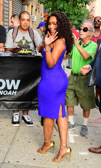 """Angela Bassett is seen outside """"The Daily Show with Trevor Noah"""" on July 29, 2019 in New York City. (Photo by Raymond Hall/GC Images)"""