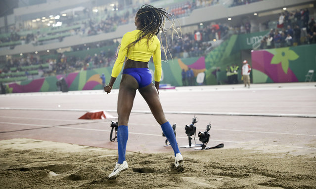 Caterine Ibarguen of Colombia shows her frustration after her last attempt in the women's long jump during the athletics at the Pan American Games in Lima, Peru, Tuesday, August 6, 2019. Ibarguen finished fifth. (Photo by Rodrigo Abd/AP Photo)