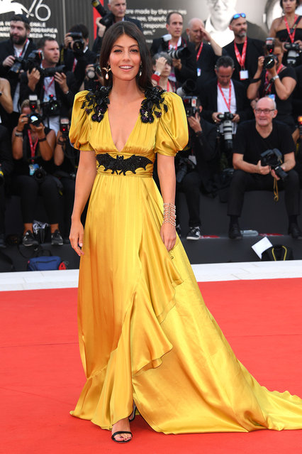 "Festival Hostess Alessandra Mastronardi walks the red carpet ahead of the ""Marriage Story"" screening during during the 76th Venice Film Festival at Sala Grande on August 29, 2019 in Venice, Italy. (Photo by Daniele Venturelli/Venturelli Daniele/WireImage)"