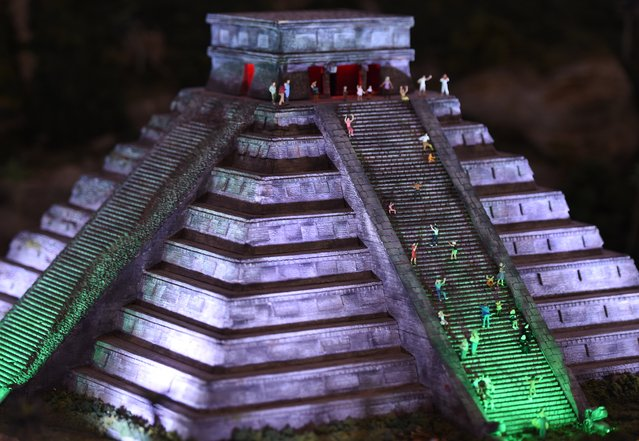 A miniature model of Chichen Itza in Mexico, part of Gulliver's Gate, a miniature world being recreated in a 49,000-square-foot exhibit space in Times Square, is seen during a preview April 10, 2017 in New York City. (Photo by Timothy A. Clary/AFP Photo)
