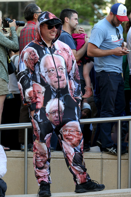 Chris Zachos, of San Francisco, wears a homemade Democratic presidential candidate, Sen. Bernie Sanders, I-Vt., suit while attending a Sanders campaign rally at Frank Ogawa Plaza at Oakland's City Hall,  in Calif., on Monday, May 30, 2016. (Photo by Anda Chu/Oakland Tribune via AP Photo)