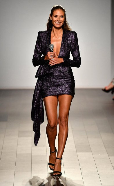Model Heidi Klum walks the runway at the Project Runway fashion show during New York Fashion Week: The Shows at Gallery 1, Skylight Clarkson Sq on September 8, 2017 in New York City. (Photo by Frazer Harrison/Getty Images For NYFW: The Shows)