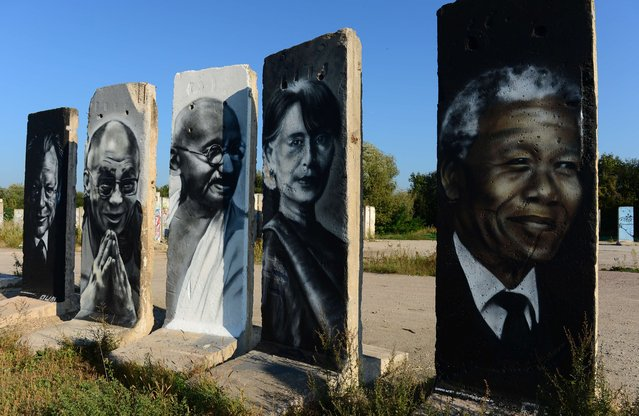 Cement slabs that used to make up the Berlin wall are painted with the portraits of (L to R) German politician Willy Brandt, Tibet's exiled spiritual leader Dalai Lama, leader of Indian independence movement Mahatma Gandhi, Burmese opposition politician Aung San Suu Kyi and South African anti-apartheid revolutionary Nelson Mandela stand in a vacant lot in Teltow outside of Berlin on September 18, 2014. (Photo by John McDougall/AFP Photo)