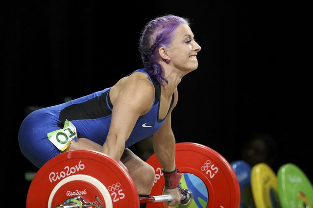 2016 Rio Olympics, Weightlifting, Final, Women's 63kg, Riocentro, Pavilion 2, Rio de Janeiro, Brazil on August 9, 2016. Anni Vuohijoki (FIN) of Finland competes. (Photo by Stoyan Nenov/Reuters)
