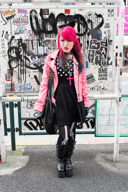 Pink Hair & Pink Jacket in Harajuku. Japanese guitar playing high school girl Lisa in Harajuku. She speaks English and is always friendly. (Tokyo Fashion)