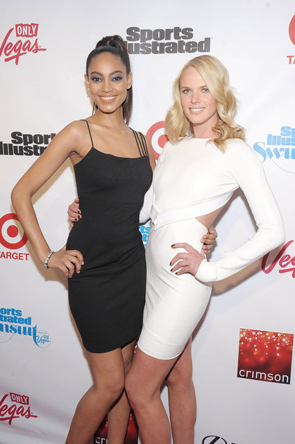Models Ariel Meredith (L) and Anne V attend as Sports Illustrated celebrates SI Swimsuit 2013 with a star-studded red carpet kickoff event at Crimson on February 12, 2013 in New York City. (Photo by Michael Loccisano/Sports Illustrated)