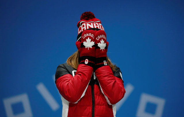 Canada' s bronze medallist Kim Boutin cries of joy as she poses on the podium during the medal ceremony for the women' s 500 m short track at the Pyeongchang Medals Plaza during the Pyeongchang 2018 Winter Olympic Games in Pyeongchang on February 14, 2018. (Photo by Kim Hong-Ji/Reuters)