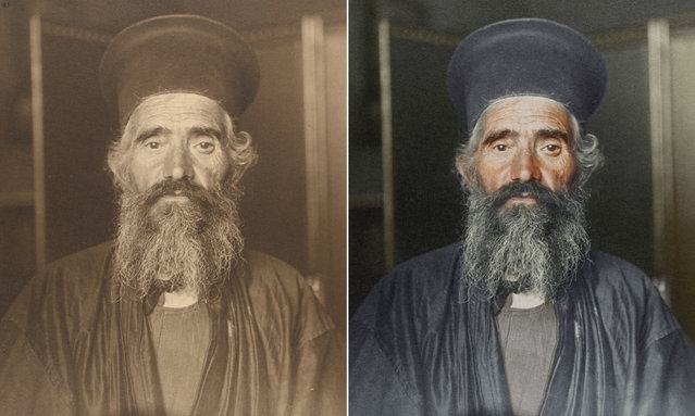 The Rev Joseph Vasilon, a Greek Orthodox priest circa 1910, wearing an ankle-length cassock and a stiff cylindrical hat called a kalimavkion, worn during services. (Photo by Augustus Francis Sherman/New York Public Library/The Guardian)