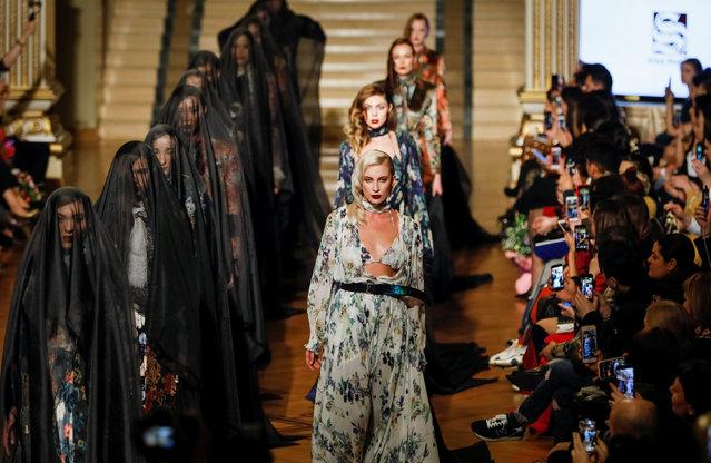 Models present creations by Kazakhstan's designer Sergei Shabunin during Kazakhstan Fashion Week in Almaty, Kazakhstan April 10, 2018. (Photo by Shamil Zhumatov/Reuters)