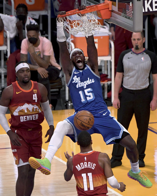 Los Angeles Lakers' Montrezl Harrell dunks against the Denver Nuggets during the second half of an NBA basketball game Thursday, February 4, 2021, in Los Angeles. (Photo by Keith Birmingham/The Orange County Register via AP Photo)