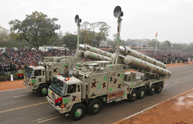 Indian Army's BrahMos weapon systems are displayed during a full dress rehearsal for the Republic Day parade in New Delhi January 23, 2015. (Photo by Adnan Abidi/Reuters)