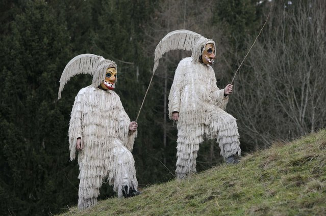 """Members of the Laufarji Ethnological Society dressed as traditional native characters named """"Ta Terjast"""" pose ahead of the Carnival in Cerkno January 20, 2015. (Photo by Srdjan Zivulovic/Reuters)"""