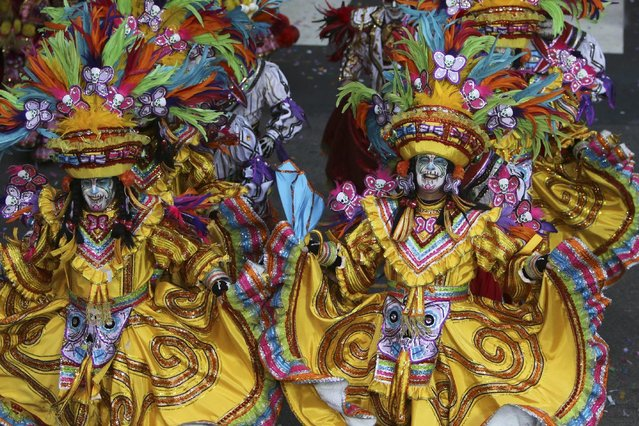 Members of the South Philadelphia String Band perform during the 116th annual Mummers Parade in Philadelphia on Friday, January 1, 2016. (Photo by Joseph Kaczmarek/AP Photo)