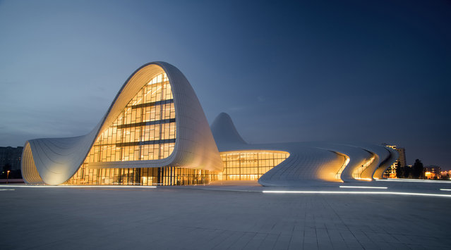 Undated handout photo issued by World Architecture Festival 2013 of the Heydar Aliyev Centre designed by British-based Zaha Hadid Architects in Baku, Azerbaijan, which is among the nominees for the World Architecture Festival Awards 2013. (Photo by World Architecture Festival 2013/PA Wire)