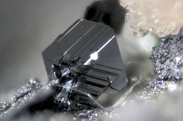 Image of Distinction: Magnified 100x, an image of pearceite, an uncommon silver mineral, in beautiful hexagonal crystals, from a copper mine in Spain, by Dr. Cesar Menor Salvan, Centro de Astrobiologia, Instituto Nacional de Tecnica Aeroespacial, Madrid, Spain. (Photo by Dr. Cesar Menor Salvan)