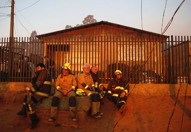Firefighters are seen resting after working to extinguish fire on a hill, where more than 100 homes were burned due to a forest fire but there have been no reports of death, local authorities said in Valparaiso, Chile January 2, 2017. (Photo by Rodrigo Garrido/Reuters)