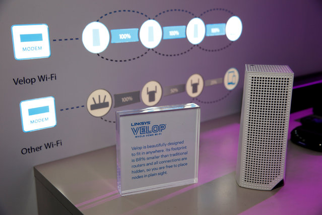 A Velop modular WiFi node (R) is shown in the Linksys booth during the 2017 CES in Las Vegas, Nevada January 6, 2017. (Photo by Steve Marcus/Reuters)