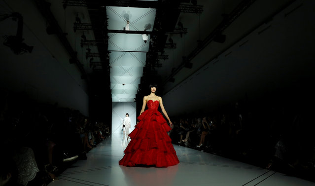 A model presents a creation by Australian designers Tamara Ralph and Michael Russo as part of their Haute Couture Spring/Summer 2017 fashion show for Ralph & Russo in Paris, France January 23, 2017. (Photo by Gonzalo Fuentes/Reuters)