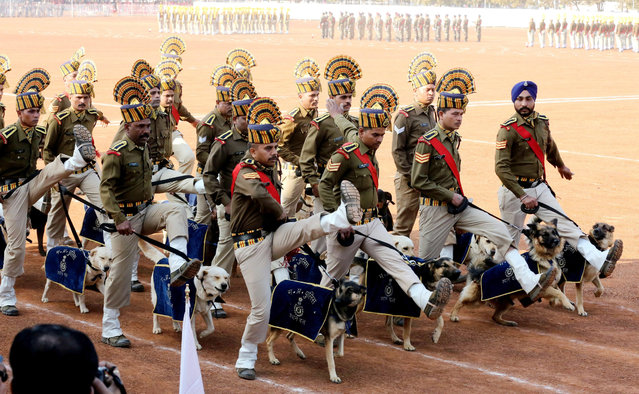A contingent of Madhya Pradesh police march during Republic Day celebrations at the Lal parade ground in Bhopal, India, 26 January 2017. The Republic Day of India marks the date on which the Constitution of India came into force on 26 January 1950 and the country began its' transition from a British Dominion into a republic. Republic Day celebrations included various parades including shows of military strength and cultural displays. (Photo by Sanjeev Gupta/EPA)