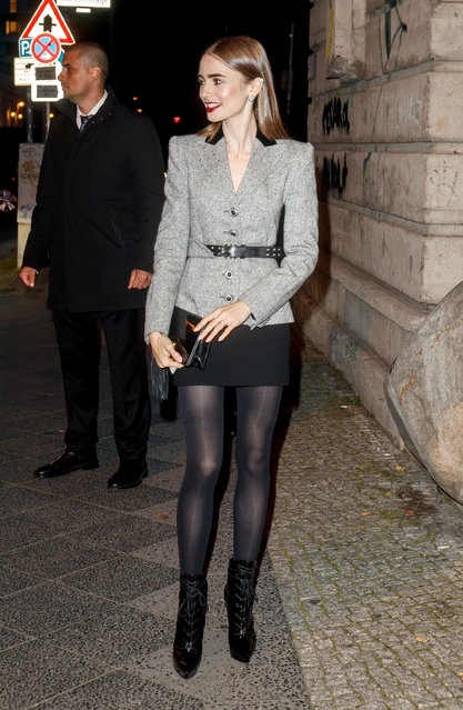 Celebrities attending the Clash de Cartier opening Dinner at the Boros Bunker in Berlin, Germany on September 21, 2021. Pictured: British-American actress Lily Collins. (Photo by HiDef/Backgrid USA)