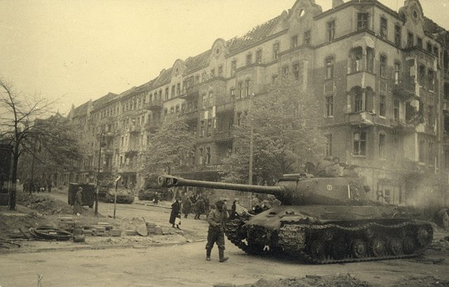 Russian tanks are pictured at Proskauer Street/Frankfurter Allee in this undated photo taken May 1945 in Berlin. (Photo by Georgiy Samsonov/Reuters/MHM)