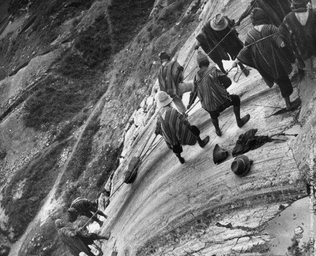 Peruvian workers demonstrate how the ancient Incas polished the large surfaces of their stone buildings, by hauling a rough boulder back and forth across the rock face, 1950