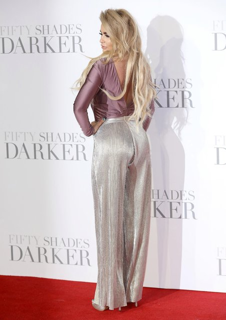 "Katie Price attends the UK Premiere of ""Fifty Shades Darker"" at the Odeon Leicester Square on February 9, 2017 in London, United Kingdom. (Photo by Tim P. Whitby/Getty Images)"