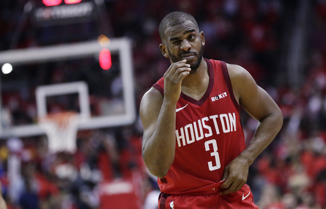 Houston Rockets guard Chris Paul (3) reacts after he was hit on the face during the second half in Game 6 of the team's second-round NBA basketball playoff series against the Golden State Warriors, Friday, May 10, 2019, in Houston. Golden State won 118-113, winning the series. (Photo by Eric Gay/AP Photo)