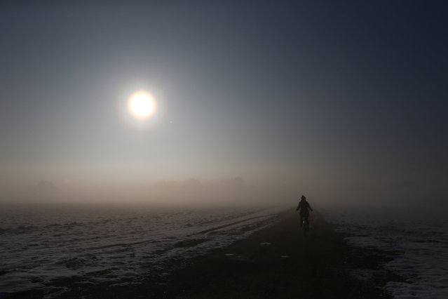 A bicyclist is seen in the early morning hour in Olching westward of Munich, Germany, February 26, 2016. (Photo by Michaela Rehle/Reuters)