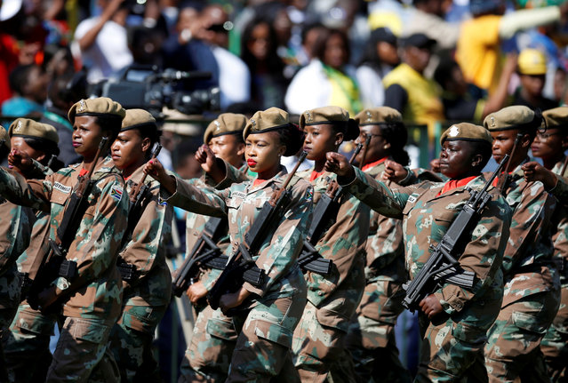 Soldiers parade at the inauguration of Cyril Ramaphosa as South African president at Loftus Versfeld stadium in Pretoria, South Africa May 25, 2019. (Photo by Siphiwe Sibeko/Reuters)