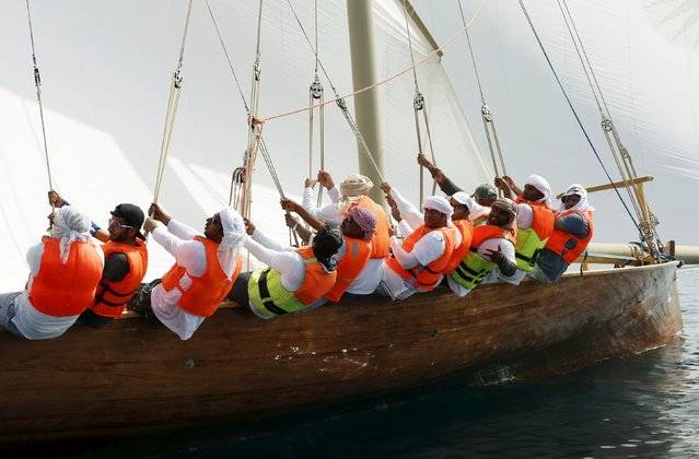 UAE sailors work in their boat during Al Gaffal Dhow Race in Dubai, United Arab Emirates May 23, 2015. (Photo by Ahmed Jadallah/Reuters)
