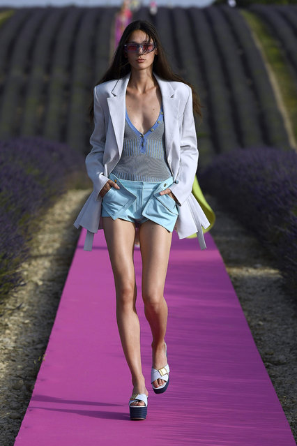 A model walks the runway at the Jacquemus Menswear  Spring/Summer 2020 show on June 24, 2019 in Valensole, France. (Photo by Estrop/Getty Images