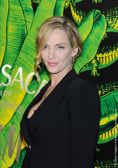 Actress Uma Thurman attends the Versace for H&M Fashion event