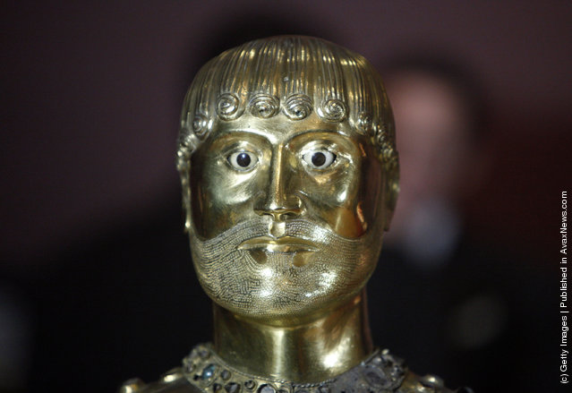 A detail view of the head and eyes of the French National Treasure at Cleveland Museum of Art