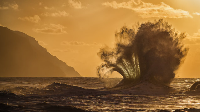 """""""Fanfare"""". Winter season on Kauai translates to large ocean swells and slightly cooler temperatures. When the first large swell passed through the islands I embarked on my inaugural wave hunting expedition. It's a tricky dance of timing, being patient, and juggling settings on the camera. Every wave that explodes into the air is uniquely defined by its environment. Photo location: Kauai, Hawaii. (Photo and caption by Lace Andersen/National Geographic Photo Contest)"""