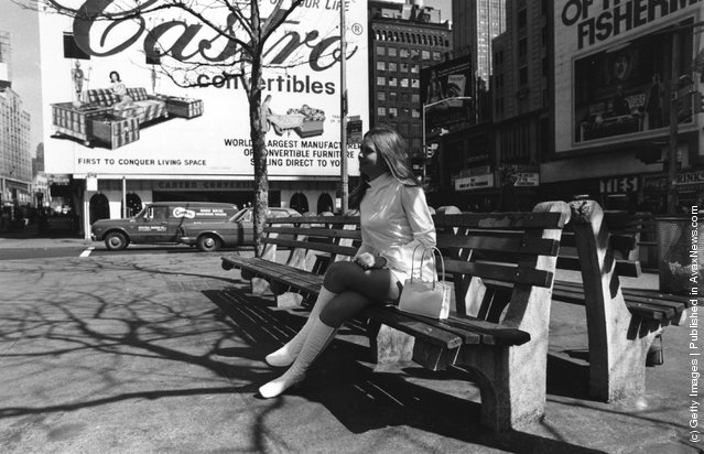 1969:  Actress Linda Hayden on a bench in Times Square, New York