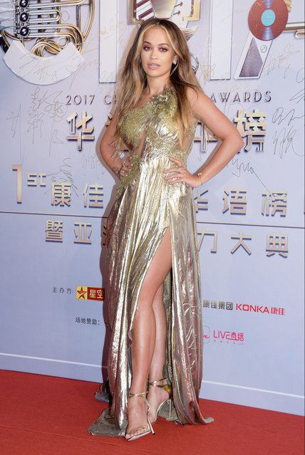 British singer and actress Rita Ora arrives at the red carpet of the 21st China Music Awards on April 20, 2017 in Macao, China. (Photo by Imaginechina/Rex Features/Shutterstock)