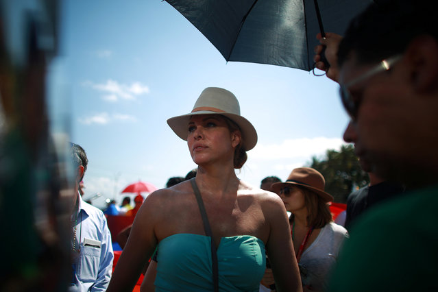 U.S. transgender actress Candis Cayne takes part in the Annual March against Homophobia and Transphobia in Havana, May 14, 2016. (Photo by Alexandre Meneghini/Reuters)