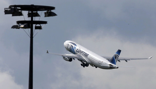 The EgyptAir plane making the following flight from Paris to Cairo,  after flight MS804 disappeared from radar, takes off from Charles de Gaulle airport in Paris, France, May 19, 2016. (Photo by Christian Hartmann/Reuters)