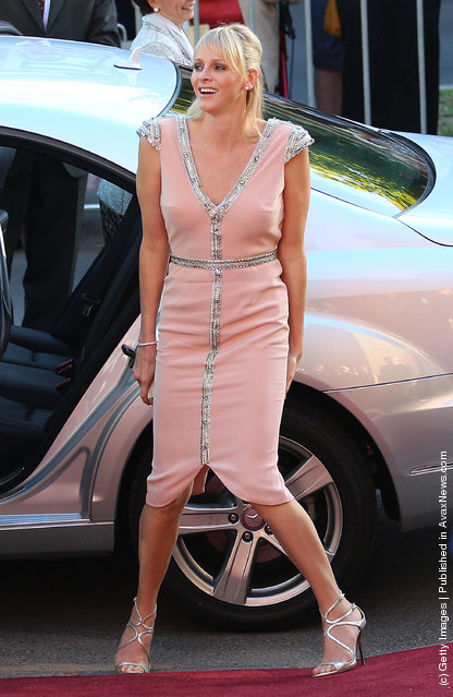 Princess Charlene of Monaco arrives at the opening of the Grace Kelly exhibition at Bendigo Museum
