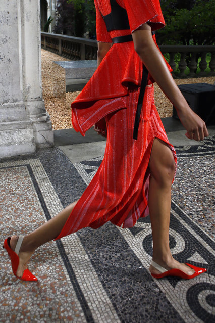 A model displays a creation for Proenza Schouler during their Spring Summer 2018 fashion collection presented in Paris, Sunday, July 2, 2017. (Photo by Francois Mori/AP Photo)