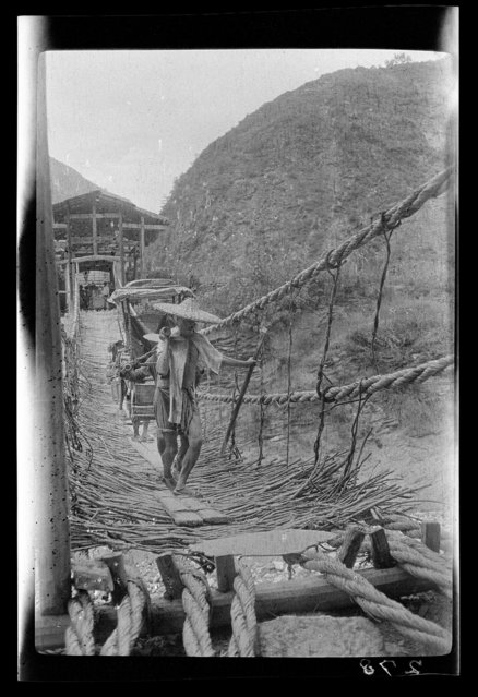 Suspension Bridge. China, Mao Zhou, 1917-1919. (Photo by Sidney David Gamble)