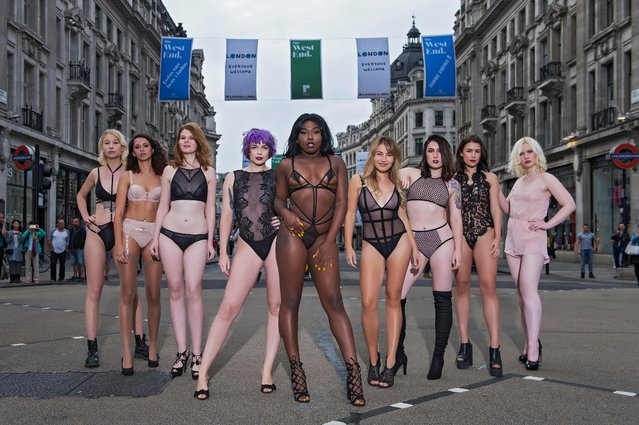 """Bluebella Lingerie advertising photo shoot, Oxford Circus, London, Great Britain on September 14, 2017. Bluebella has staged its most daring lingerie campaign yet, sending 19 models to strut their stuff in skimp smalls on one of London's busiest junctions. Bluebella organised the show early in the morning to minimise congestion ahead of London Fashion Week which starts on Friday 15th September. The """"models"""" included a medical PA, a company boss, four students, two actors, a musician and two writers. (Photo by Cavendish Press/LESAUVAGE/Bluebella)"""