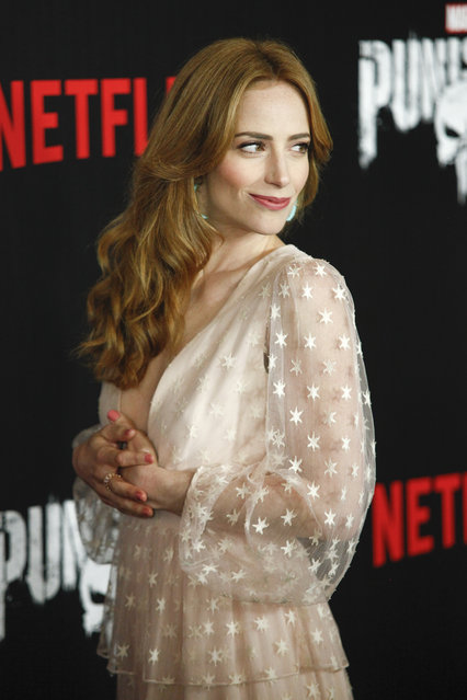 "Jaime Ray Newman attends the premiere of Netflix's ""Marvel's The Punisher"" at AMC Loews 34th Street on Monday, November 6, 2017, in New York. (Photo by Andy Kropa/Invision/AP Photo)"