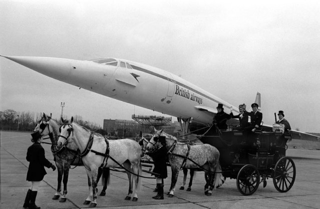 Two different centuries of transport at Heathrow Airport, London, shows the Concorde supersonic airliner and an 18th century mailcoach on January 15, 1978. (Photo by Popperfoto/Getty Images)